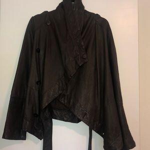 All Saints Dark Brown Leather Jacket